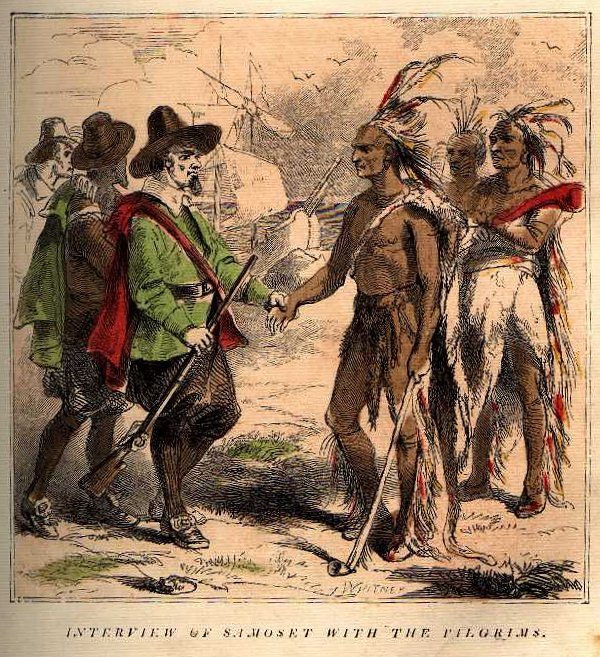 Pilgrims and Indians at Thanksgiving