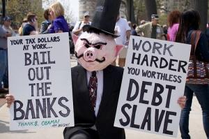 debt slave protester