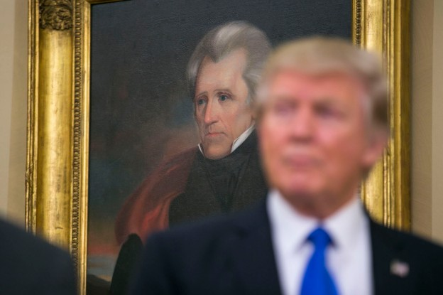 A portrait of Andrew Jackson in the Oval Office of the White House, in Washington.